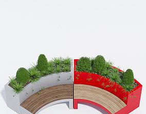 landscape 3D model Curved planter bench one