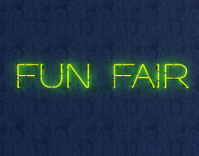 3D asset game-ready Funfair Neon Sign
