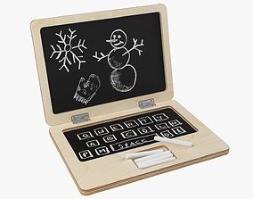 Wooden laptop chalkboard 3D