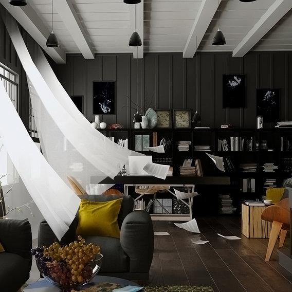 Black Livingroom & office Design