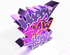 Happy New Year Graffiti 3D model