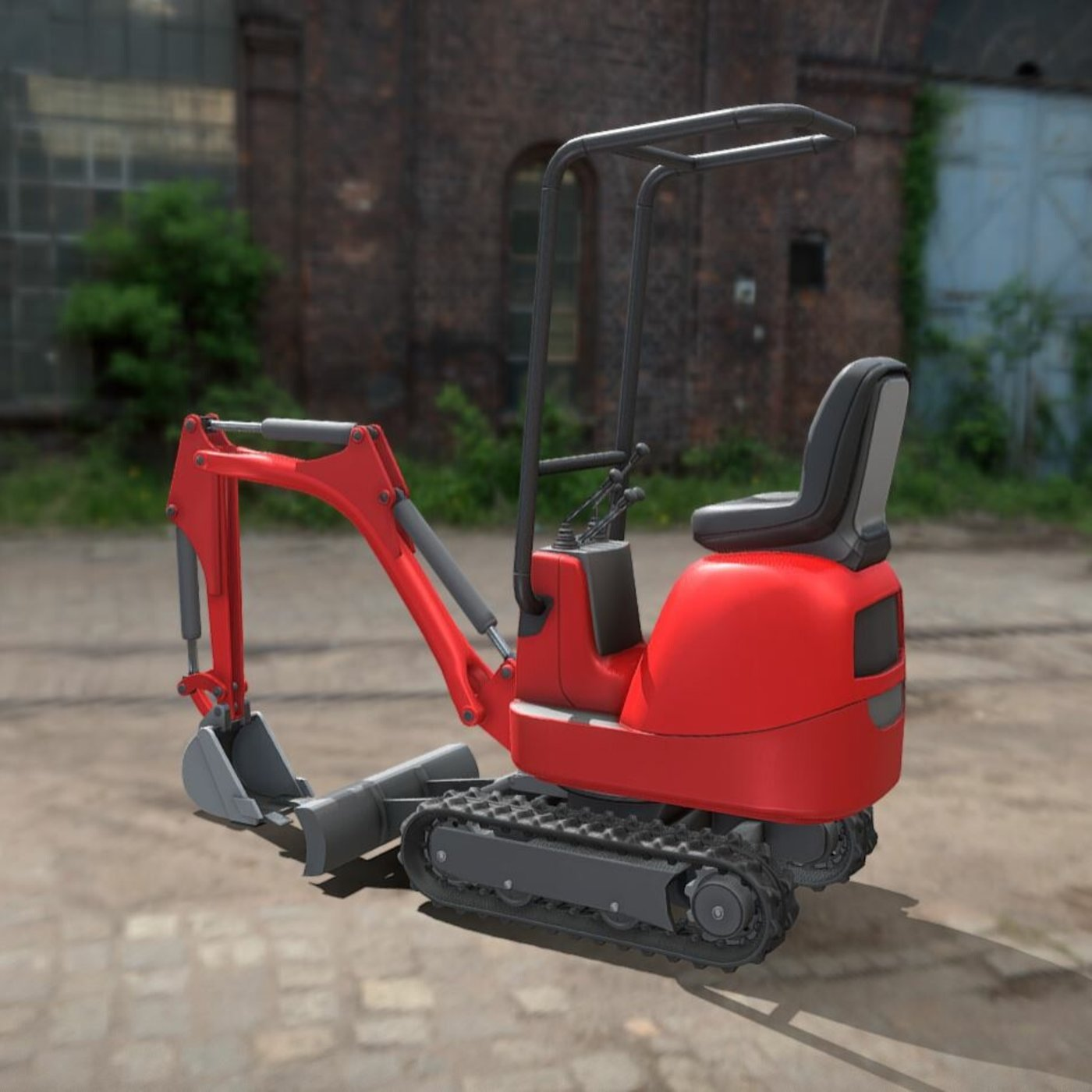 Mini Excavator Low-Poly and Rigged