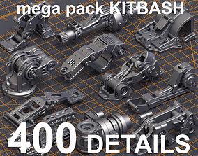 Mega Pack Hard Surface Kitbash 400 DETAILS 3D