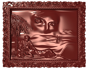 3D print model Mirage eastern beauty Bas relief for CNC