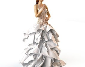 3D model Wedding Evening dress 2