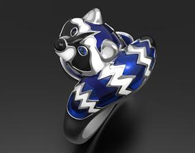 Baby blue raccoon ring 3D print model