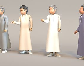 3D 4x Arabic real cloth simulation loop animated boys