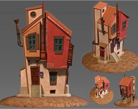 3D model realtime Stylized cartoon steampunk house