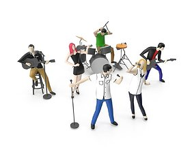 3D model Low Poly People Playing Music Instrument