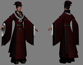 Ancient Chinese emperors Hanfu officials 3D model