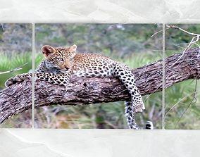 3D asset Triptych Wall ArtDecoration Baby Leopard 3