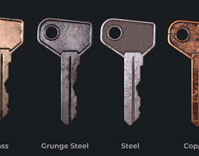 3D model game-ready Metal key for the door lock