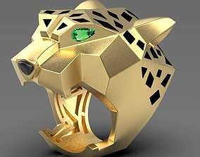 panther ring 3D print model diamond