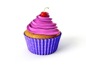 Cupcake Muffin With Sherry on Top - Purple Polka Dot 3D