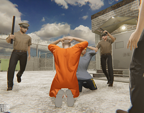 3D asset Prison - big building characters and props