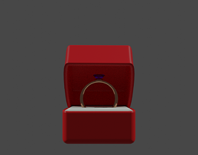 3D model Ring this purple diamond in red box PBR low-poly