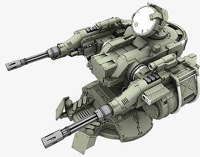 Turret 3D model rigged