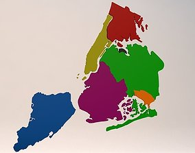 3D model New York City 5 Boroughs Silhouettes Low Poly 2