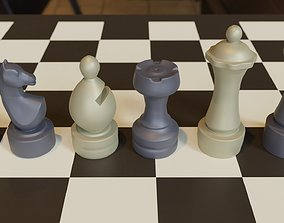 3d Printable Chubby Chess Set OBJ 3MF STL Blender