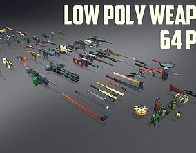 Low Poly Weapons Collection - 64 Pack 3D asset