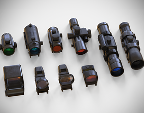 Sight Attachments Pack - Optical - Scope - 3D asset 2