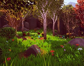 3D model Stylized Handpainted Environment Woodland