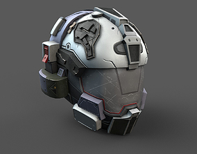 Helmet scifi military 3d model space game-ready