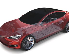 Tesla Model S 2016 Red with Chassis