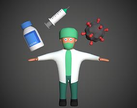 3D model Cartoony Doctor Set Covid Vaccine