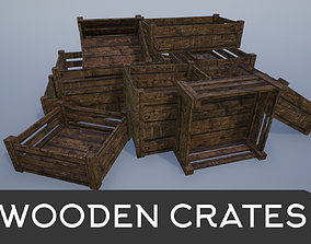 3D asset Wooden Empty Crates and Cases