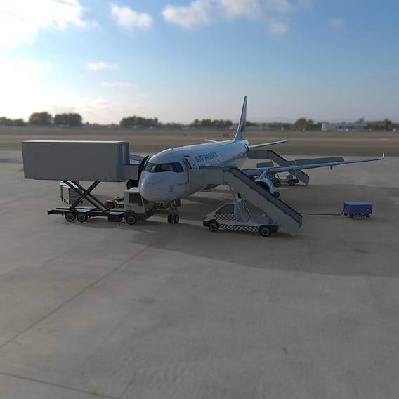 Airbus A320 Air France parked with ground vehicles