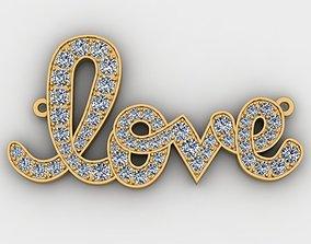 3D printable model Love Pendant with Diamonds