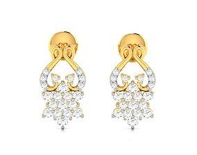 Women earrings 3dm render detail gold sterling