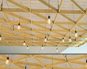 Wooden suspended ceiling 3 3D asset
