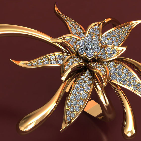 3D Ring Model Big Flower With Diamonds