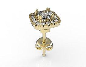 Halo Cushion Diamond Earring 3D printable model