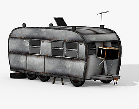 Rust Caravan Trailer 3D asset
