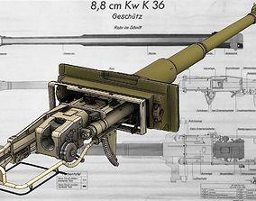 High detail model of Tank gun 88 cm KwK 36 L56