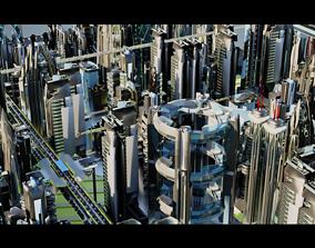 Futuristic-Roads-Cars and City 02 3D