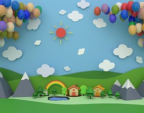 cycles Low polygon children background model