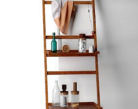 Nomad Shelf System with Muku Clock and Bath 3D model 1