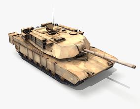 3D model M1A1 Abrams Tank lowpoly