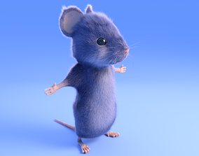 Mouse - grey - Cartoon style - rigged 3D asset