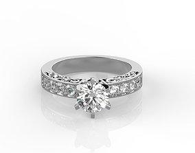 Round cut engagement ring 3D print model
