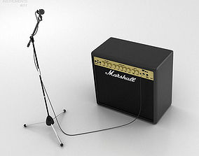 Microphone with Holder and Amp 3D