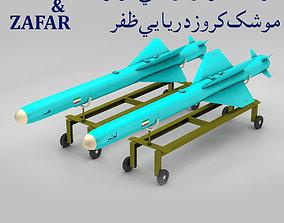 KOWSAR - ZAFAR Iranian Anti-Ship Cruise Missiles 3D asset