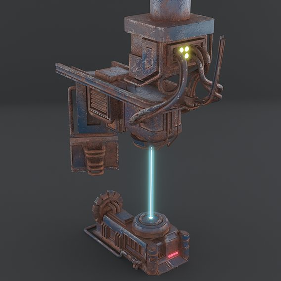 Low poly si-fi machine game asset 3d model