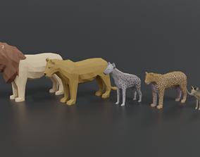 3D Low Poly African Predators
