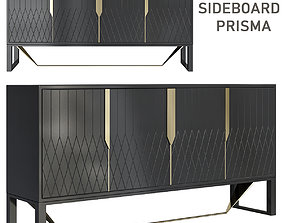 Wood and glass sideboard with doors PRISMA game-ready 3