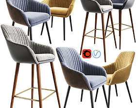 Rochelle Strip Bar Stool And Chair 3D model